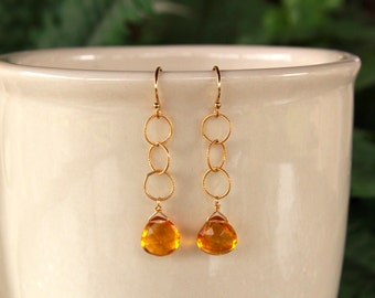 Citrine Earrings, Gold Filled Citrine, Yellow Gemstone Earrings, Citrine Jewelry, Vibrant Yellow Citrine, Gold and Citrine, Free Shipping