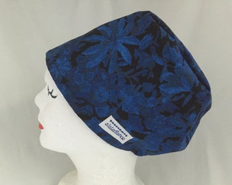 Rae Tech Scrub Hat Pixie Pull On Style Black with Royal Blue Floral Print