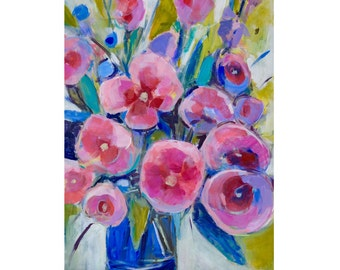 Pink Abstract floral painting on canvas, Original Acrylic Bright Abstract floral art, Large pink painting flower Bouquet roses,  24 X 18