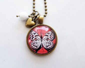 White Monarch Butterfly Necklace - Art Pendant -  You Choose Bead and Charm - Custom Jewelry -   Grunge Monarch Butterfly - Insect Necklace