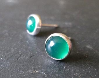 Emerald Green Agate Stud Earrings - Green Studs, Gemstone Earrings, Stone Studs, Gift Jewellery