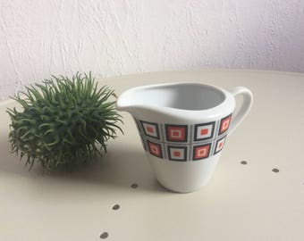 Interesting 70s creamer geometrical pattern white black red by Seltmann