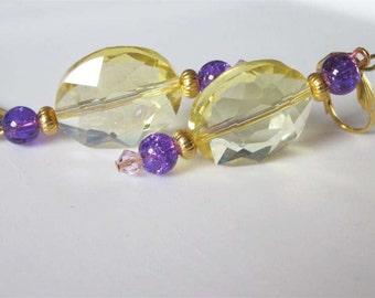 Beaded Glass Earrings, Crystal Dangle Earrings, Yellow and Purple, Oval Shaped, Gold Leverback, Citrine Glass, Beaded Earrings