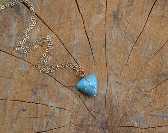 Larimar Triangle Necklace // Gold Fill Chain // Crystal Energy // Soothing // Divine Feminine // Emotional Expression // Goddess Energy