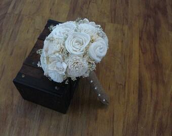 Wedding Bouquet, Sola wood Cream Bouquet, Burlap Bouquet, Alternative Bouquet,Bouquet, Sola flowers, Wood Bouquet