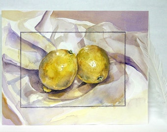 2 Lemons Watercolor 7.75x10-Original Painting- Still Life- Yellow, White, Purple- Kitchen Art