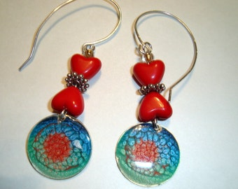 Artisan Glass and Enamel Circular Earrings - Funky Earrings - Beautiful Colors - Red Beads, Gypsy Bohemian Design, Blue and Red Design