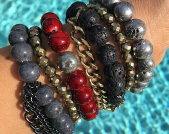 Crimson Nights, Bracelet Stack, Arm Candy, handmade bracelets, bead bracelets