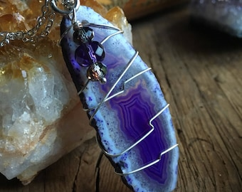 Purple Geode necklace with purple crystals and silver plate chain