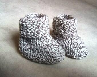 baby booties wool blend Brown off white booties size 0/1 month baby booties wool baby handmade knitted