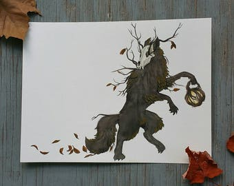 Wolf of Autumn 9x12 watercolor painting