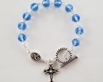 Periwinkle Blue Crystal Rosary Bracelet