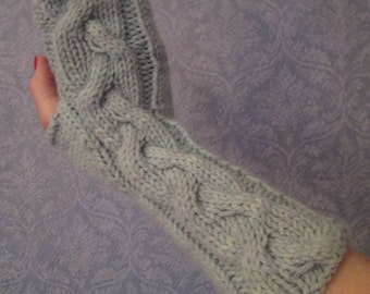 Long Cabled Fingerless Gloves