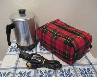Vintage Coffee Pot, Keefe Mfg. co. 1960's Instant Coffee Maker Travel Kit, Retro Camping Kit Working Condition