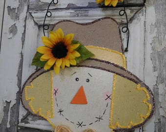 "Sale Scarecrow Sunflowers Wood Sign Wall Decor / Halloween Autumn Fall Thanksgiving  / Hand Painted / BIG 14"" x 11""  Ready To Ship (refCban)"