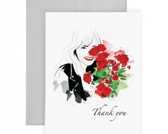 Thank You Roses - Greeting Card, Fashion Illustration, Flower Card, Gift Card, Thanks Card,
