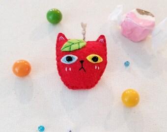 Apple Odd Eyed Cat Brooch