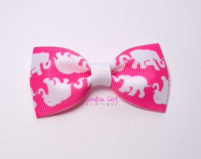 """Tusk in Sun Pop Pink ~ 3"""" Hair Bow Tuxedo Bow ~ Lilly Inspired ~ Simple Bow ~ Boutique Bow for Babies Toddlers ~ Girls Hair Bows"""