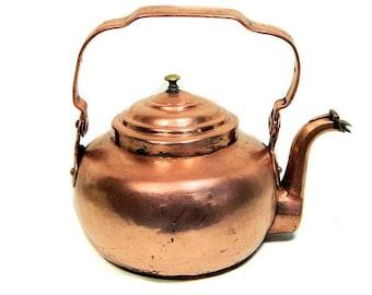 Antique Small Copper Tea Kettle Gooseneck Spout