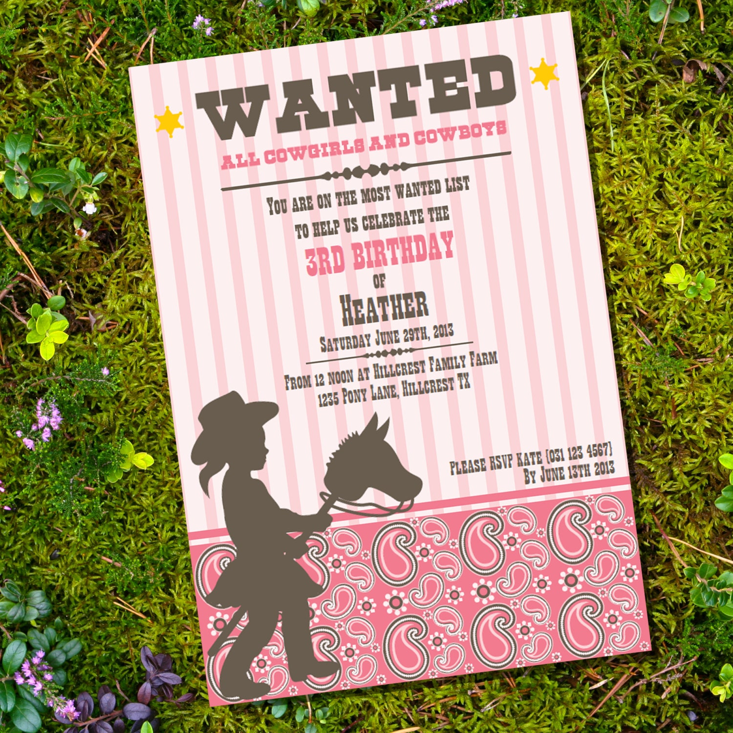 Little Cowgirl Birthday Invitation Cowgirl Party Instantly