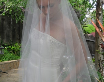 "Wedding veil - drop veil come in 64"" long 74"" longwith plain edge."