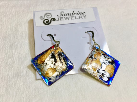 SJC10144 - Handmade diamond shape blue silver gold enamel silver plated earrings with abstract designs