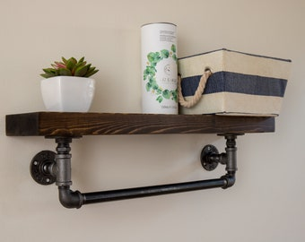 Raleigh : Industrial Wooden Shelf / Rustic Shelf / Shelving / Towel Rail / kitchen Shelf / Industrial Shelf / Steampunk / Home Decor