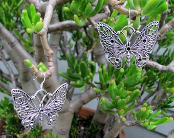 Bohemian Antique Silver Butterfly Earrings, Butterfly Earrings