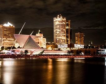 Milwaukee Skyline & Milwaukee Art Museum - Dark Contrast - Full Color, Canvas Wrap or Gloss Print - Wisconsin - Long Exposure Nightscape