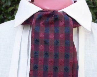 Burgundy, blue patterned silk cravat, 19th century style