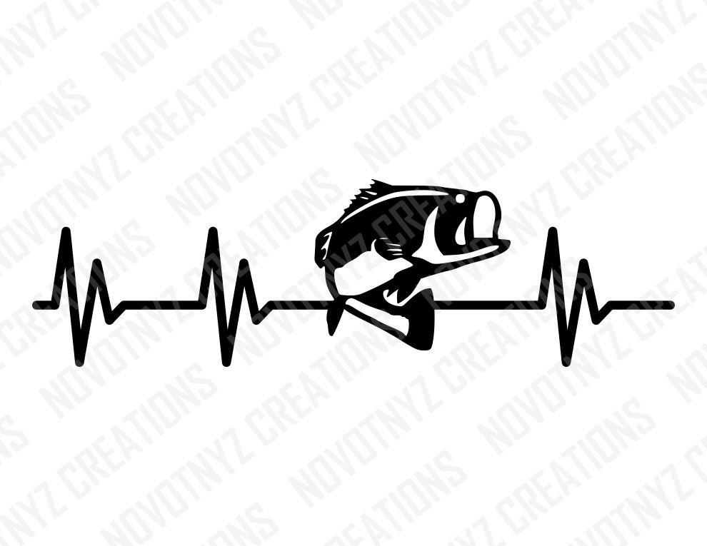 Heartbeat Line Art : Bass heartbeat svg fishing love for