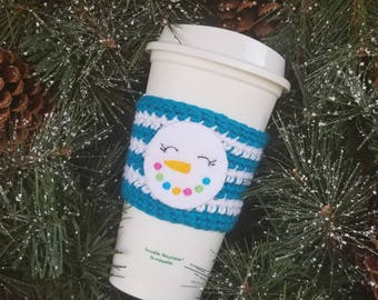 Crochet Snowman Cup Cozy, Coffee Sleeve, Stocking Stuffer, Coffee Lover Gift, Knitted Cozy, Teahcer Gift, Reusable Coffee Cozy, Tea Cozy,