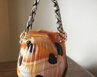 Murano Hand blown glass purse Venetian art glass Venitian Glass purse Glass purse vase OOAK purse
