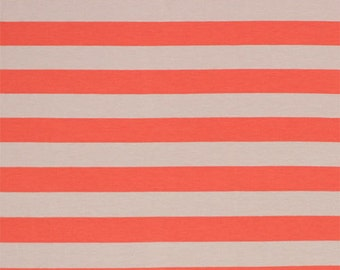 Coral and Taupe Stripe Cotton Spandex Jersey Knit Fabric - Sold by the Yard 5142