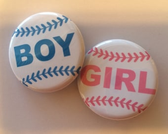 set of 20 Baseball gender reveal pins choose 1.25 inch or 1.5 inch gender reveal party pins
