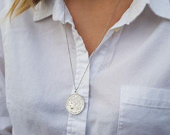 Silver Coin necklace, Long Silver Necklace, Coin Pendant Necklace, Silver Medallion Necklace, Layered Necklace, Everyday necklace, Big Coin