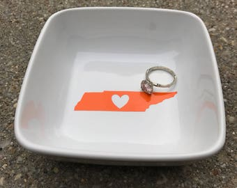 Tennessee College Love - Jewelry Ring Dish - University of Tennessee - Vanderbilt University - Middle Tennessee State - Graduation Gift
