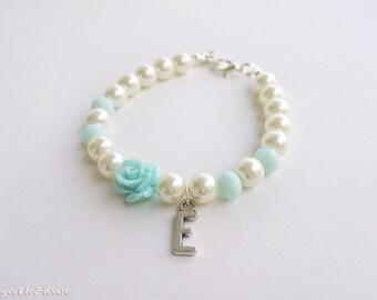 Blue Flower Bracelet, Flower Girl Bracelet, Personalized Bracelet, Initial Bracelet, Flower Girl Gift, Toddler Bracelet, Baptism Gifts