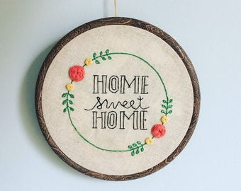 Embroidery hoop 'home sweet home'