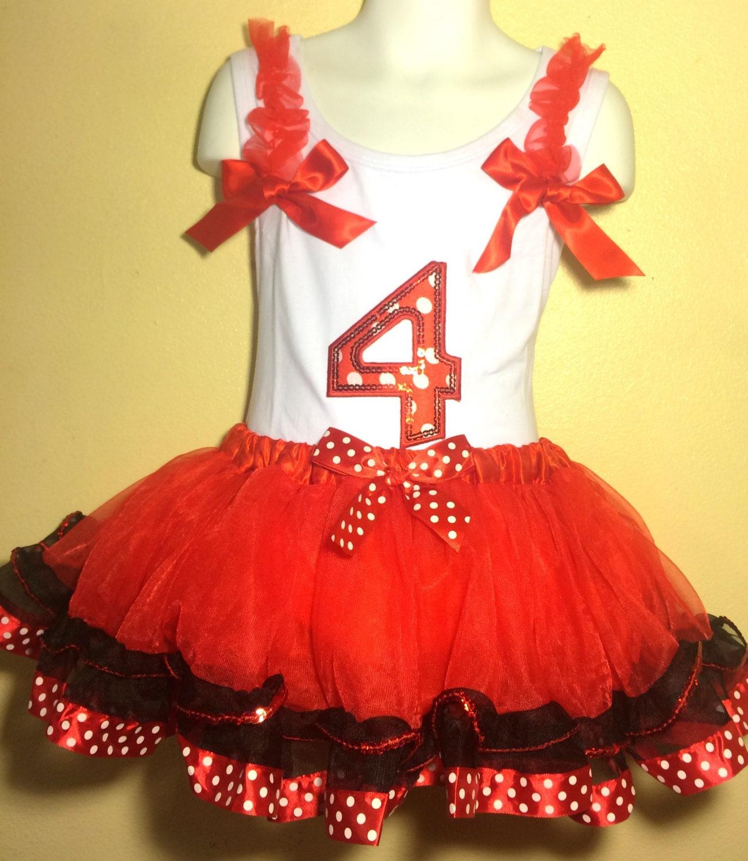 Minnie Mouse Geburtstag Kleid 4 jährige rot Mädchen Baby