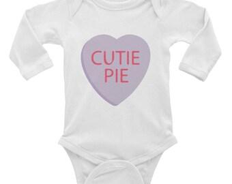 Cutie Pie Conversation Heart Infant Long Sleeve Bodysuit - Baby Shower Gift- Kid's Valentine Outfit