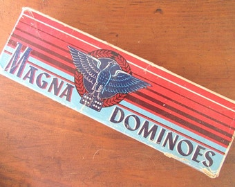 Magna Dominoes Vintage Box of Domino Tiles Double Sixes Eagle