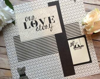 Vintage style wedding scrapbook page