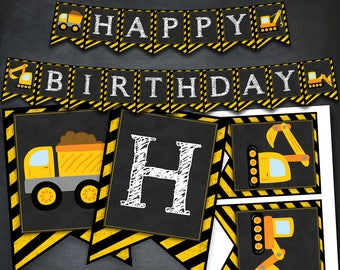 Construction Banner, Construction Birthday Banner, Construction Party, Under Construction Party, Construction Favors, Digital Banner