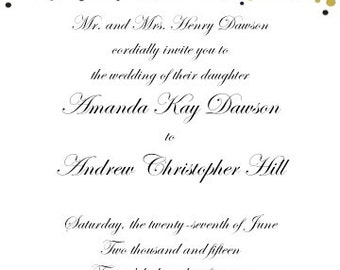 PRINTABLE Gold Foil Confetti Design Wedding Invitation and RSVP Set - 2 Colors