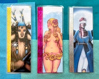 Powerful Lady Characters - Laminated Holographic Bookmarks - 3 designs
