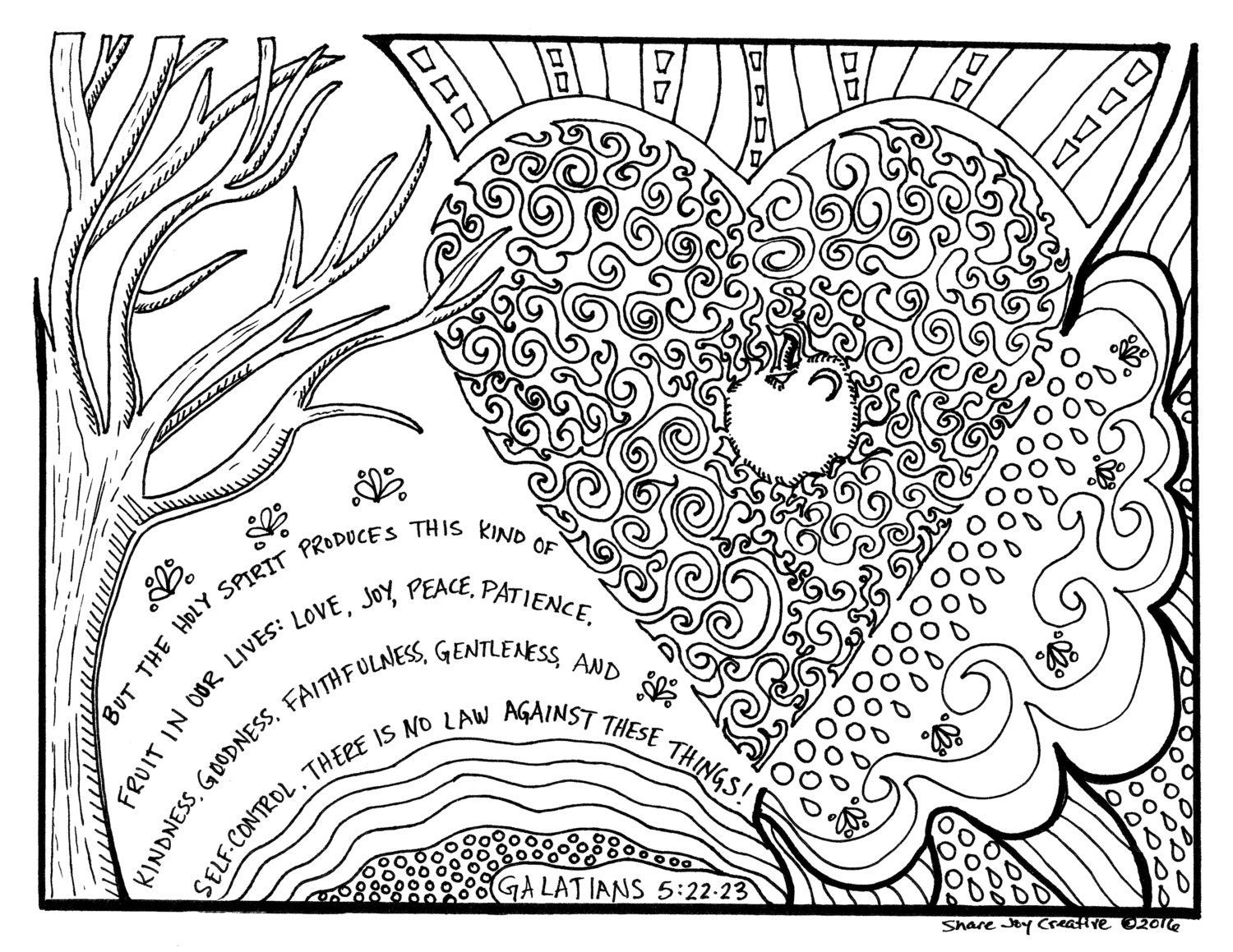 The Fruit Of The Holy Spirit Coloring Page Fruit Of The Spirit Coloring Page
