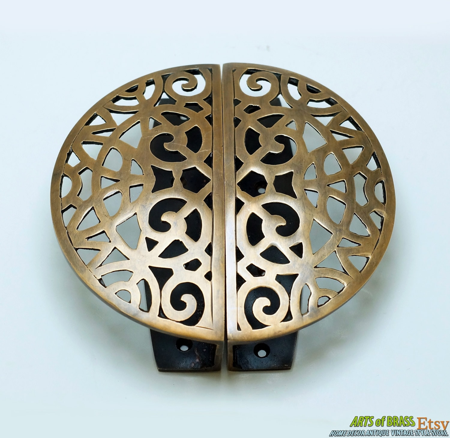 5 78 inches vintage detail engraved artistic round main door screen