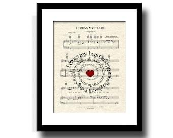 I Cross My Heart Song Lyric Sheet Music Art Print, Custom Art, Wedding Gift, Name and Date, Anniversary Gift, Country Music, First Dance