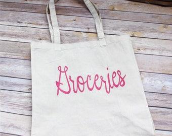 Reusable Grocery Bag, Grocery Bag, Pink Groceries